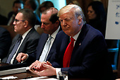 United States President Donald J. Trump winks during a Cabinet Meeting at the White House in Washington, DC on October 21, 2019. <br /> Credit: Yuri Gripas / Pool via CNP