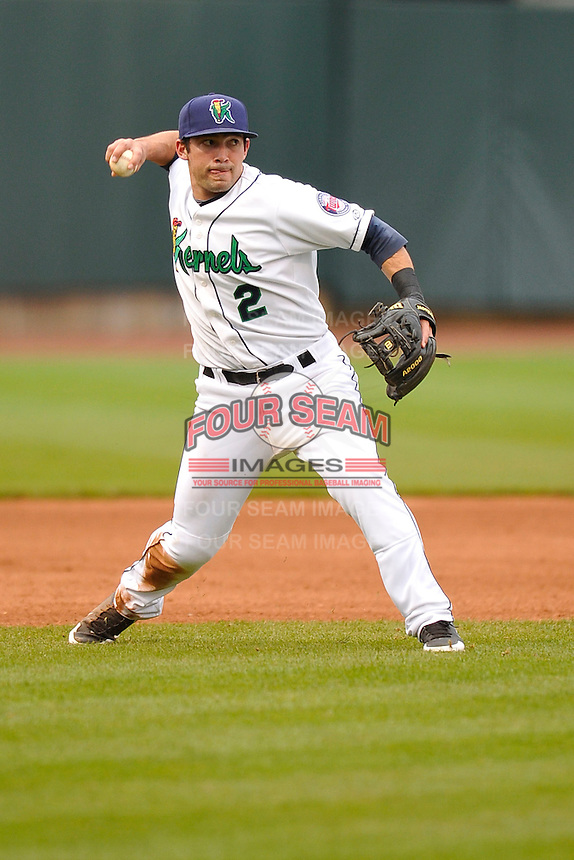Joel Licon #2 of the Cedar Rapids Kernels throws to first base against the Kane County Cougars at Perfect Game Field on May 1, 2014 in Cedar Rapids, Iowa. The Kernels won 5-2.   (Dennis Hubbard/Four Seam Images)