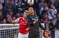 Shkodran Mustafi (Arsenal London) im Kopfballduell mit Bas Dost (Eintracht Frankfurt) - 19.09.2019:  Eintracht Frankfurt vs. Arsenal London, UEFA Europa League, Gruppenphase, Commerzbank Arena<br /> DISCLAIMER: DFL regulations prohibit any use of photographs as image sequences and/or quasi-video.