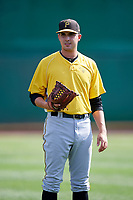 Bristol Pirates pitcher Joe Jacques (43) warms up before a game against the Bluefield Blue Jays on July 26, 2018 at Bowen Field in Bluefield, Virginia.  Bristol defeated Bluefield 7-6.  (Mike Janes/Four Seam Images)