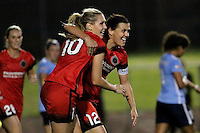 Piscataway, NJ - Sunday Sept. 25, 2016: Allie Long celebrates scoring, Christine Sinclair during a regular season National Women's Soccer League (NWSL) match between Sky Blue FC and the Portland Thorns FC at Yurcak Field.