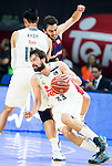 Real Madrid's player Sergio Llull and Gustavo Ayon and Barcelona's player Satoransky during Liga Endesa 2015/2016 Finals 3rd leg match at Barclaycard Center in Madrid. June 20, 2016. (ALTERPHOTOS/BorjaB.Hojas)