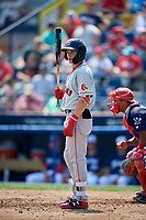 Portland Sea Dogs designated hitter Tate Matheny (7) at bat in front of catcher Deivi Grullon (17) during the first game of a doubleheader against the Reading Fightin Phils on May 15, 2018 at FirstEnergy Stadium in Reading, Pennsylvania.  Portland defeated Reading 8-4.  (Mike Janes/Four Seam Images)