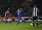 John Lundstram of Sheffield Utd  shoots during the Championship match at Bramall Lane Stadium, Sheffield. Picture date 02nd April, 2018. Picture credit should read: Simon Bellis/Sportimage