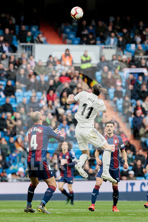 Real Madrid's Gareth Bale and SD Eibar's Ivan Ramis during La Liga match between Real Madrid and SD Eibar at Santiago Bernabeu Stadium in Madrid, Spain.April 06, 2019. (ALTERPHOTOS/A. Perez Meca)