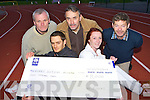 CHEQUE IT OUT: An Riocht presents a cheque for EUR8,000 to Kerry Autism Action which they raised in their Annual An Riocht Road Race held last November on Wednesday 25th March l-r: Tommy Molyneaux, Kieran McCabe, Denny McSweeney, Clodagh McHugh and Michea?l Crean.