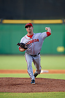 Florida Fire Frogs relief pitcher Justin Kelly (17) delivers a pitch during a game against the Clearwater Threshers on June 1, 2018 at Spectrum Field in Clearwater, Florida.  Florida defeated Clearwater 12-10.  (Mike Janes/Four Seam Images)