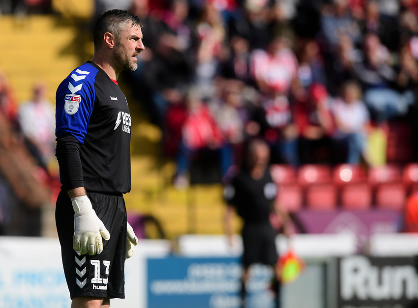 Fleetwood Town's Matt Gilks<br /> <br /> Photographer Chris Vaughan/CameraSport<br /> <br /> The EFL Sky Bet League One - Lincoln City v Fleetwood Town - Saturday 31st August 2019 - Sincil Bank - Lincoln<br /> <br /> World Copyright © 2019 CameraSport. All rights reserved. 43 Linden Ave. Countesthorpe. Leicester. England. LE8 5PG - Tel: +44 (0) 116 277 4147 - admin@camerasport.com - www.camerasport.com