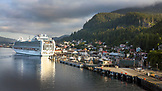 ALASKA, Ketchikan, a cruise ship moored in the enterance of the Port of Ketchikan
