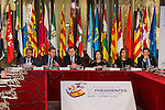 Miguel Angel Revilla, president of Cantabria, prime minister Mariano Rajoy, Soraya Saez de Santamaria and Susana Diaz during the meeting with the Presidents of 17 autonomous governments at the Senate in Madrid, January  17, 2017. (ALTERPHOTOS/Rodrigo Jimenez)