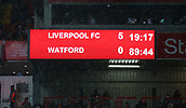17th March 2018, Anfield, Liverpool, England; EPL Premier League football, Liverpool versus Watford; a view of the scoreboard in the dying minutes of the match