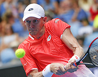 16th January 2019, Melbourne Park, Melbourne, Australia; Australian Open Tennis, day 3; Kevin Anderson of South Africa  in action against Frances Tiafoe of USA