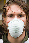 William Alexander Grasmeder from Northern Virginia and a protestor takes part in the March in March outside the TVA headquarters in Knoxville, Tennessee. The protestors were protesting coal mining during an event called Mountain Justice Spring Break on March 14, 2009.
