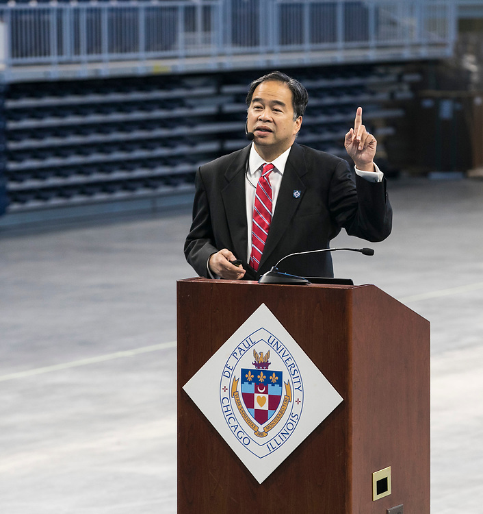 A. Gabriel Esteban, Ph.D., president of DePaul University, presents his first State of the University address to faculty and staff members, Friday, Sept. 15, 2017, at the Wintrust Arena. The president outlined the current climate of higher education, student enrollment and the strategic planning process. (DePaul University/Jamie Moncrief)