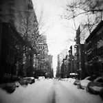New York City side street after winter snow