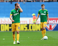 Preston North End's Joe Rafferty struggles to hide his frustration<br /> <br /> Photographer David Shipman/CameraSport<br /> <br /> The EFL Sky Bet Championship - Wigan Athletic v Preston North End - Monday 22nd April 2019 - DW Stadium - Wigan<br /> <br /> World Copyright © 2019 CameraSport. All rights reserved. 43 Linden Ave. Countesthorpe. Leicester. England. LE8 5PG - Tel: +44 (0) 116 277 4147 - admin@camerasport.com - www.camerasport.com