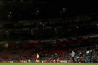 28th November 2019; Emirates Stadium, London, England; UEFA Europa League Football, Arsenal versus Frankfurt; Arsenal Manager Unai Emery gives out instructions with a partial empty stadium behind him - Editorial Use