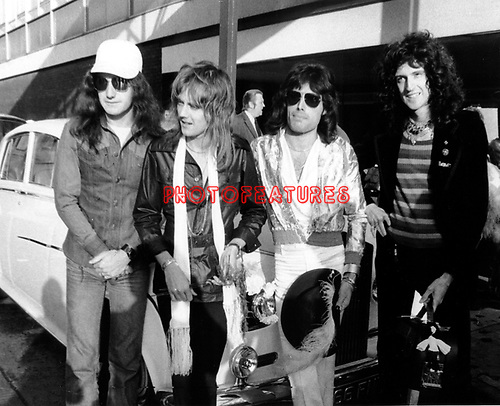 Queen 1975 John Deacon, Roger Taylor, Freddie Mercury and Brian May..© Chris Walter..