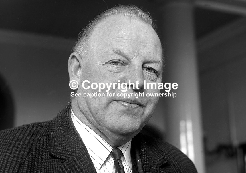 James McCarroll, former Ulster Protestant Action councillor, Belfast City Council, N Ireland, prominent supporter of Rev Ian Paisley, February 1969. 196902000054.<br />