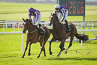 THE CURRAGH, CO. KILDARE - SEPTEMBER 10: Happily #7, ridden by Donnacha O'Brien, wins the Moyglare Stud S., Win and You're In for the Breeders' Cup Juvenile Fillies Turf, at The Curragh in Co. Kildare, Ireland. (Photo by Sophie Shore/Eclipse Sportswire/Getty Images)
