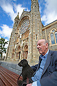 Terry O'Connor sits with his dog Buster as final preparations are made before the start of the Solemn Novena at Monastery off the Falls Road, west Belfast, Tuesday, June 18th, 2019. The Novena runs from June 19th till June 27th. (Photo by Paul McErlane for the Belfast Telegraph)