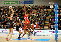 10.09.2017 England's Ama Agbeze in action during the Taini Jamison Trophy match between the Silver Ferns and England at Pettigrew Green Arena in Napier. Mandatory Photo Credit ©Michael Bradley.