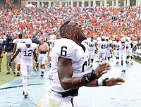 Penn State linebacker Gerald Hodges (6) reacts to a missed field goal  in the final seconds of the 17-16 loss to Virginia Saturday Sept. 8, 2012 during an NCAA football game in Charlottesville, VA. Photo/Andrew Shurtleff)