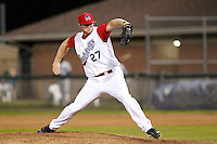 Auburn Doubledays pitcher Aaron Barrett #27 during game two of the semi-final round of the NY-Penn League Playoff series against the Vermont Lake Monstes at Falcon Park on September 8, 2011 in Auburn, New York.  Auburn defeated Vermont 3-2.  (Mike Janes/Four Seam Images)