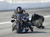 Feb 8, 2020; Pomona, CA, USA; NHRA top fuel nitro Harley Davidson motorcycle rider Tyler Wilson during qualifying for the Winternationals at Auto Club Raceway at Pomona. Mandatory Credit: Mark J. Rebilas-USA TODAY Sports