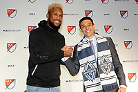 Philadelphia, PA - Thursday January 19, 2018: Kendall Waston, Justin Fiddes during the 2018 MLS SuperDraft at the Pennsylvania Convention Center.