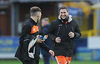 Blackpool's Steve Davies shares a smile with Harry Pritchard<br /> <br /> Photographer Kevin Barnes/CameraSport<br /> <br /> The EFL Sky Bet League One - AFC Wimbledon v Blackpool - Saturday 29th December 2018 - Kingsmeadow Stadium - London<br /> <br /> World Copyright &copy; 2018 CameraSport. All rights reserved. 43 Linden Ave. Countesthorpe. Leicester. England. LE8 5PG - Tel: +44 (0) 116 277 4147 - admin@camerasport.com - www.camerasport.com