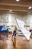 USA, Washington State, Long Beach Peninsula, Amy Doran flying at the indoor kite flying competition, the  International Kite Festival, mother of Connor Doran who performed on Americas Got Talent and uses his flying to ease the symptoms of his epilepsy