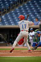 Clearwater Threshers first baseman Madison Stokes (17) at bat during a Florida State League game against the Dunedin Blue Jays on April 4, 2019 at Spectrum Field in Clearwater, Florida.  Dunedin defeated Clearwater 11-1.  (Mike Janes/Four Seam Images)