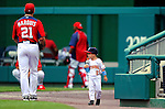 19 June 2011: Washington Nationals' starting pitcher Jason Marquis has his 4-year old son Andrew join him on the field prior to a Father's Day game against the Baltimore Orioles at Nationals Park in Washington, District of Columbia. The Orioles defeated the Nationals 7-4 in inter-league play, ending Washington's 8-game winning streak. Mandatory Credit: Ed Wolfstein Photo