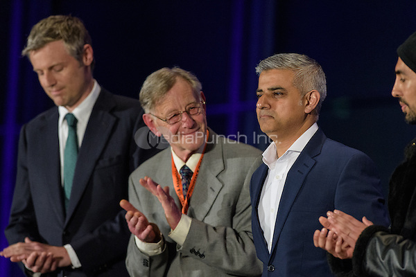 Sadiq Khan, the new London Mayor, reacts at the results announcement in London's City Hall, May 06, 2016. L-R Zac Goldsmith Conservative, Lee Harris Canabis is Safer Than Alcohol, new Mayor Sadiq Khan and Ankit Love for theOne Love Party. Photo by Andre Camara<br /> CAP/CAM<br /> &copy;CAM/Capital Pictures /MediaPunch ***NORTH AMERICAN AND SOUTH AMERICAN SALES ONLY***