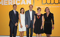 NWA Democrat-Gazette/CARIN SCHOPPMEYER Alice Walton, Crystal Bridges founder and board chairwoman (from right), Mindy Besaw, Crystal Bridges assisdtant curator, Bob and Becky Bolge, Made in America co-sponsors and Rod Bigelow, Crystal Bridges executive director, stand for a photo at the VIP preview of the exhibition at the museum in Bentonville.