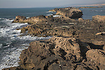 Rocky shoreline of the Atlantic ocean from the northern Bastion, Essaouira, Morocco
