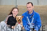 Tara O'Connor with her dog called Jessie and Brendan Brosnan from Listowel enjoying the The North Kerry Harriers Point to Point in Ballybeggan Racecourse on Saturday