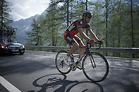 winner of the previous stage Philippe Gilbert (BEL/BMC) in the last stretch up the final Cervinia climb (2001m), enters a good 43 minutes behind winner Aru<br /> <br /> Giro d'Italia 2015<br /> stage 19: Gravellona Toce - Cervinia (236km)