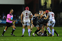 Rob Herring of Ulster in action during the Guinness Pro14 Round 15 match between the Ospreys and Ulster Rugby at Morganstone Brewery Field in Bridgend, Wales, UK. Friday 15 February 2019