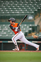 GCL Orioles Davis Tavarez (10) at bat during a Gulf Coast League game against the GCL Braves on August 5, 2019 at Ed Smith Stadium in Sarasota, Florida.  GCL Orioles defeated the GCL Braves 4-3 in the first game of a doubleheader.  (Mike Janes/Four Seam Images)