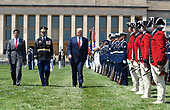 United States President Donald J. Trump (R) reviews troops with the new US Secretary of Defense Dr. Mark T. Esper (L) and US Air Force General Paul J. Selva, Vice Chairman of the Joint Chiefs of Staff, at the Pentagon, Thursday, July 25, 2019, Washington, DC. The Department of Defense has been without a full-time leader since former Secretary Jim Mattis resigned in December 2018.      <br /> Credit: Mike Theiler / Pool via CNP