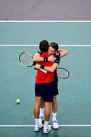 3rd November 2019, AccorHotels Arena, Bercy, Paris, France; Rolex Paris masters Tennis tournament, finals day;  joie de Pierre Hugues Herbert and Nicolas Mahut (Fra)  mens doubles final winners