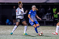 Boston, MA - Saturday September 30, 2017: Mandy Freeman and Tiffany Weimer during a regular season National Women's Soccer League (NWSL) match between the Boston Breakers and Sky Blue FC at Jordan Field.