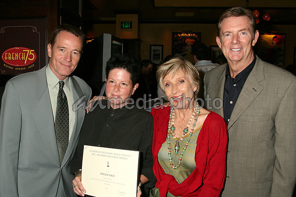 23 August 2006 - Century City, California. Brian Cranston, Phyllis Nagy, Cloris Leachman and Dick Askin. 58th Annual Primetime Emmy Award Nominees for Outstanding Writing Reception. Photo Credit: Byron Purvis/AdMedia