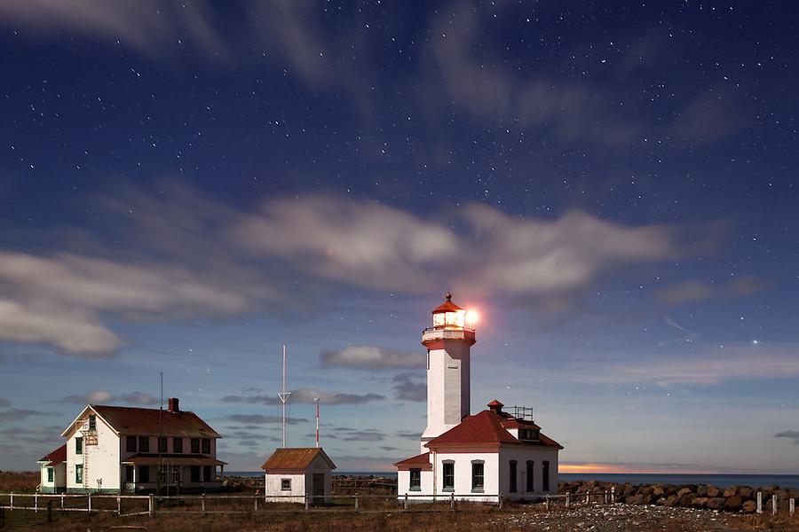 Point Wilson Lighthouse under starry sky, Fort Worden State Park, Port Townsend, Jefferson County, Washington, USA