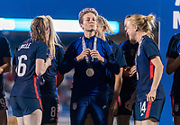 FRISCO, TX - MARCH 11: Megan Rapinoe #14 of the United States celebrates during a game between Japan and USWNT at Toyota Stadium on March 11, 2020 in Frisco, Texas.
