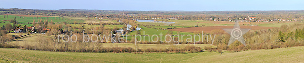 15000 x 3135 pixel (127cm x 27cm @ 300dpi) composite landscape from Little Wittenham Manor on the left, via Days Lock to Dorchester.