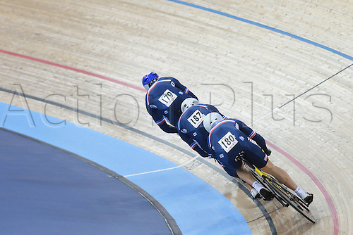 02.03.2016. Lee valley Velo Centre. London England. UCI Track Cycling World Championships Men&rsquo;s team sprint.  Team France of <br /> BAUGE Gregory - SIREAU Kevin - DALMEIDA D ALMEIDA Michael