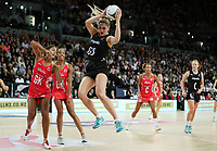 15.09.2018 Silver Ferns Te Paea Selby-Rickit in action during Silver Ferns v England netball test match at Spark Arena in Auckland. Mandatory Photo Credit ©Michael Bradley.